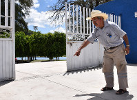 This photo taken on July 6, 2018 in Apaseo el Alto in central Mexico shows the location of a local park where Jose Remedios Aguirre, a mayoral candidate, was fatally shot in May. (Mainichi)