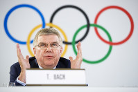 International Olympic Committee (IOC) President Thomas Bach from Germany attends a press conference after the executive board meeting of the IOC, in Lausanne, Switzerland, on July 20, 2018. (Valentin Flauraud/Keystone via AP)