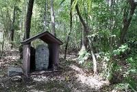 大正時代にキリシタン遺物発見のきっかけとなった墓石。「上野マリヤ」という名前と十字架が刻まれている=大阪府茨木市で、幾島健太郎撮影