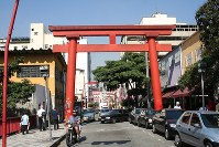 A gateway to a shrine is seen in Sao Paulo, where many people of Japanese ancestry live, on May 23, 2008. (Mainichi)