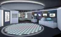 A rendering of a stage, which projects the life-size cross-section of a nuclear reactor, enabling visitors to see inside of the reactor that suffered a meltdown, using computer graphics and actual footage. (Photo courtesy of Tokyo Electric Power Co.)