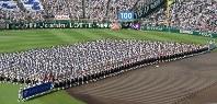 第100回全国高校野球選手権記念大会の開会式で一斉行進する選手たち=阪神甲子園球場で2018年8月5日、平川義之撮影