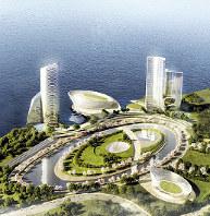 大阪・夢洲に開発を目指すIR施設のイメージ=日本MGMリゾーツ提供