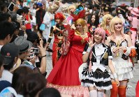 Cosplayers from around the world parade through the Osu Shopping District in Nagoya's Naka Ward on Aug. 5, 2018. (Mainichi)