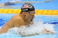 男子400メートル個人メドレー決勝を制したケイリシュ。得意の平泳ぎで萩野と瀬戸を圧倒した=東京辰巳国際水泳場で2018年8月9日、梅村直承撮影