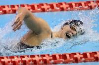 女子800メートル自由形決勝を制したケイティ・レデッキー=東京辰巳国際水泳場で2018年8月9日、梅村直承撮影