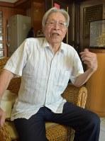 日本軍の軍属として従軍した頃を回想する趙中秋さん。「僕の話を聞いてください」と何度も繰り返した=台湾南部・高雄市で2018年7月8日午前9時55分、福岡静哉撮影