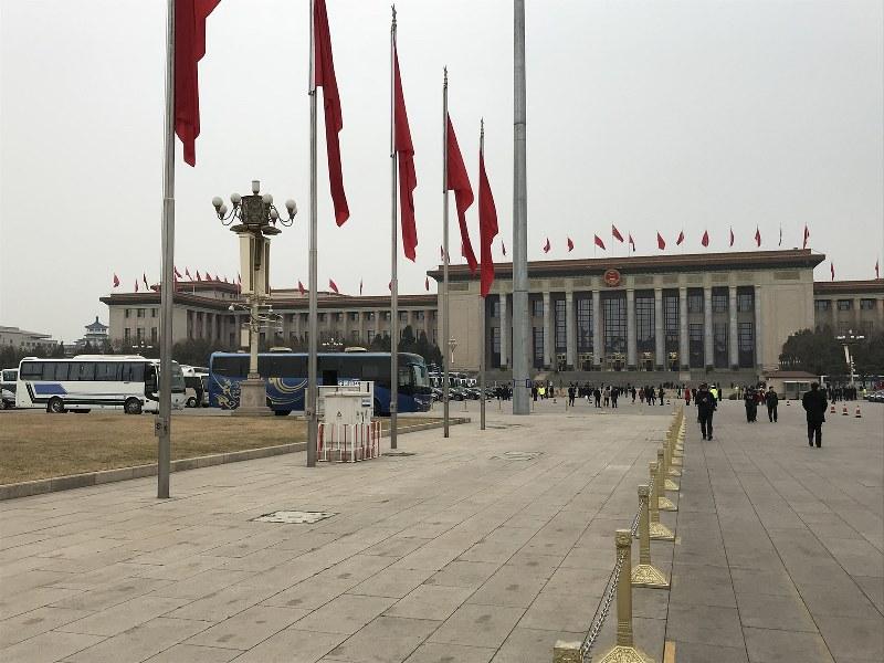 全人代が行われる人民大会堂=2018年3月17日、林哲平撮影