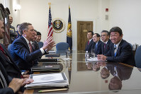 U.S. Trade Representative Robert Lighthizer, center left, and Toshimitsu Motegi, Japan's minister of economy, trade and industry, right, hold the first round of ministerial trade talks, at the Office of the U.S. Trade Representative, in Washington, on Aug. 9, 2018. (AP Photo/J. Scott Applewhite)