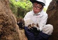 Rebun Kayo carries out bone excavations of atomic bombing victims on Hiroshima's Ninoshima island in this photo taken on April 23, 2018. (Mainichi)