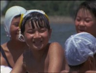 Crown Prince Naruhito (then Prince Hiro) enjoys swimming in an area that is now part of Kita Ward in the Shizuoka Prefecture city of Hamamatsu. (Image courtesy of MBS)