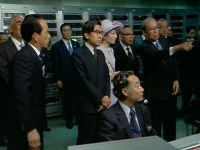 Emperor Akihito and Empress Michiko (then the Crown Prince and Crown Princess) visit Mainichi Broadcasting System (MBS) in Osaka Prefecture on June 1, 1978. (Image courtesy of MBS)