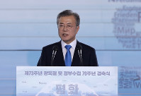 South Korean President Moon Jae-in delivers a speech during a ceremony to celebrate the Korean Liberation Day, marking the 73rd anniversary of Korea's liberation from the Japanese colonial rule, in Seoul, South Korea, on Aug. 15, 2018. (AP Photo/Lee Jin-man)