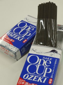 icks of incense packaged in One Cup Ozeki boxes are seen. (Mainichi)