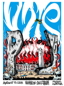 This image taken from the Twitter account of Pearl Jam shows the official poster from the band's concert on Aug. 13, 2018 in Missoula, Montana. (Twitter via AP)
