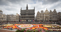 The Brussels Flower Carpet, laid out in its entirety, on the Grand Place in Brussels, on  Aug. 16, 2018. (AP Photo/Virginia Mayo)
