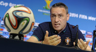 In this June 15, 2014 file photo, Portugal's then head coach Paulo Bento attends a news conference the day before the Group G World Cup soccer match between Germany and Portugal, at the Arena Fonte Nova, in Salvador, Brazil. (AP Photo/Paulo Duarte)