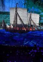 第18回アジア大会の開会式で披露されるパフォーマンス=ジャカルタのブンカルノ競技場で2018年8月18日、宮間俊樹撮影