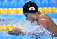 競泳女子100メートル平泳ぎで優勝した鈴木聡美=ジャカルタで2018年8月19日、宮間俊樹撮影