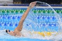 競泳男子100メートル背泳ぎで2位の入江陵介=ジャカルタで2018年8月19日、宮間俊樹撮影