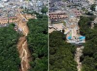 (左)土砂災害で、泥に埋まった広島市安佐南区八木周辺=2014年8月20日、本社ヘリから望月亮一撮影(右)砂防ダムが建設されている=広島市安佐南区で2018年8月19日、本社ヘリから幾島健太郎撮影