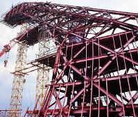 鉄骨がほぼ組みあがったオーストラリア館=大阪府吹田市で1969年7月