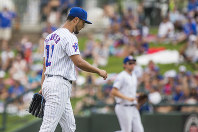 Chicago Cubs' Yu Darvish leaves the mound following the first inning during the Great Lakes Loons at South Bend Cubs baseball game, on Aug. 19, 2018, at Four Winds Field in South Bend, Ind. (Robert Franklin/South Bend Tribune via AP)