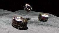 「ミネルバ2の1」の2台(左の2台)と「ミネルバ2の2」が小惑星リュウグウの表面で探査する様子のイメージ図=宇宙航空研究開発機構提供