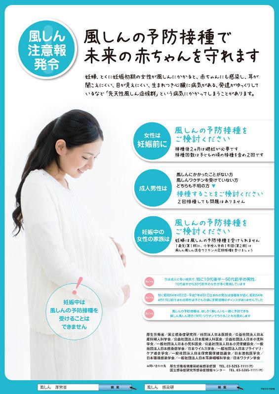 厚生労働省などが2013年に作成した風疹の予防接種を呼びかけるポスター
