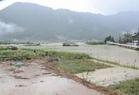 氾濫した熊野川=和歌山県新宮市熊野川町日足で2018年8月24日午前8時24分、阿部弘賢撮影
