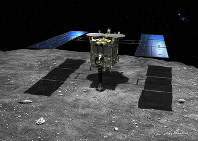This image depicts the space exploration probe Hayabusa 2 landing on the surface of the asteroid Ryugu. (Image courtesy of artist Akihiro Ikeshita)