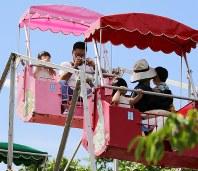 窓もないため頂上付近で記念撮影する姿も=北海道函館市の函館公園こどものくにで2018年8月20日、貝塚太一撮影