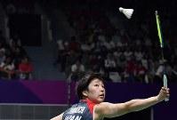 女子シングルス準決勝で敗退した山口茜=ジャカルタで2018年8月27日、宮間俊樹撮影