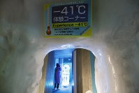 零下20度の館内にあっても一際寒い冷風が吹く零下41度体験コーナー入り口=北海道上川町の「北海道アイスパビリオン」で2018年8月15日、貝塚太一撮影