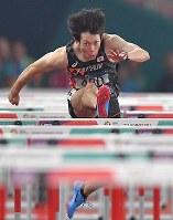 【陸上】陸上男子110メートル障害決勝、3位に入った高山峻野=ジャカルタのブンカルノ競技場で2018年8月28日、徳野仁子撮影