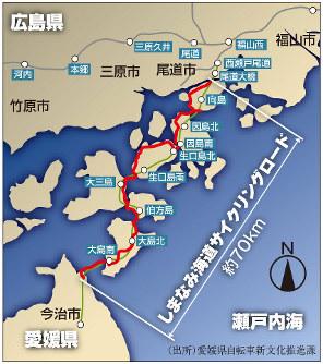 しまなみ海道サイクリングロードの地図