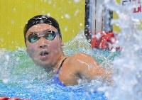 競泳女子50メートル自由形、1位でフィニッシュした池江璃花子=ジャカルタで2018年8月24日、徳野仁子撮影