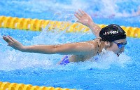 競泳女子100メートルバタフライで優勝した池江璃花子=ジャカルタで2018年8月21日、宮間俊樹撮影