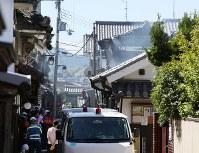 火災で燃えた重要伝統的建造物郡保存地区の建物=大阪府富田林市で2018年9月3日午前9時55分、梅田麻衣子撮影