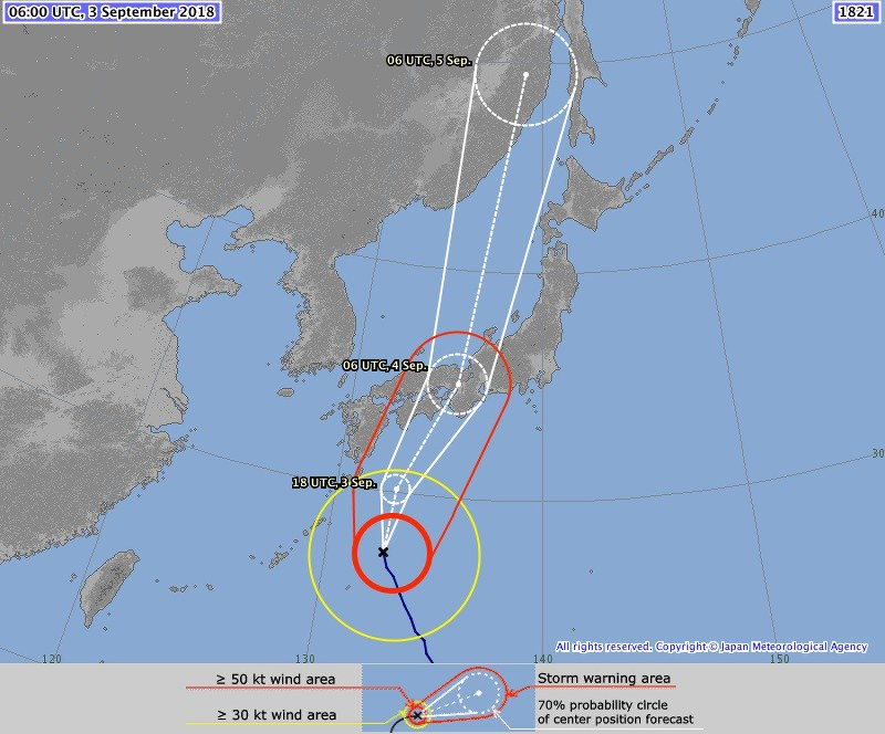 This screenshot from the Japan Meteorological Agency website shows the expected course of Typhoon Jebi in the coming days