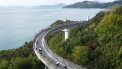 しまなみ海道は海上の回廊。ブルーラインで観光客も迷わず走れる(筆者撮影)