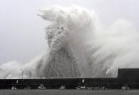 台風21号の接近で、高波が打ち寄せる安芸漁港=高知県安芸市で2018年9月4日午前9時44分、山田尚弘撮影