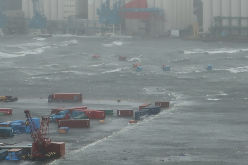 Typhoon Jebi causes record storm surge of over 3 meters in