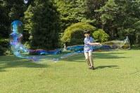 シャボン玉を作られる悠仁さま=東京・元赤坂の秋篠宮邸で2018年8月10日(宮内庁提供)