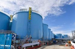 福島第1原発事故、放射性汚染水を貯蔵するタンク