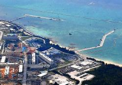 辺野古基地移転に向け護岸工事が進む沿岸部