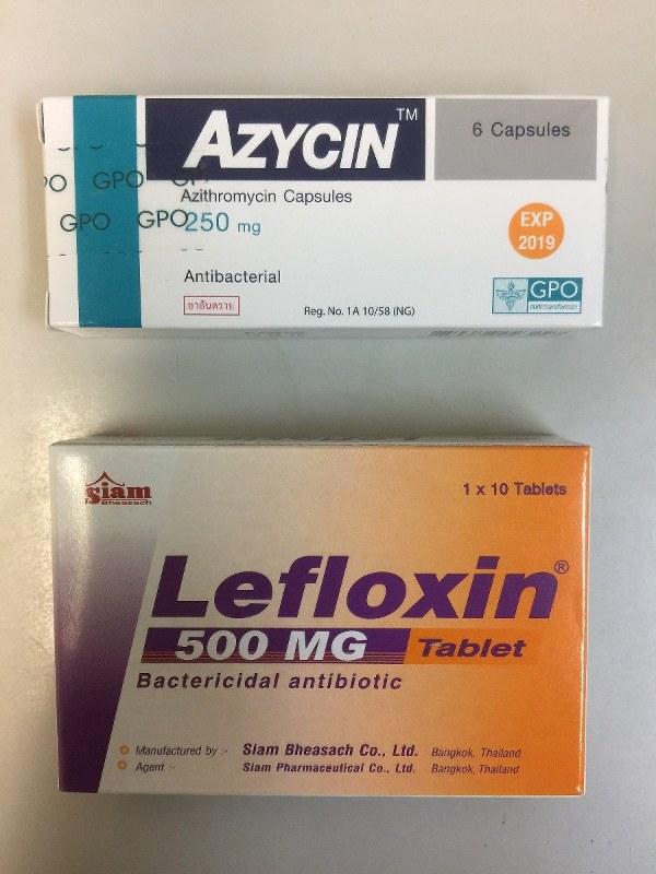 上がアジスロマイシン4錠、下がレボフロキサシン10錠。価格はそれぞれ250バーツ(約750円)、500バーツ(約1,500円)。双方ともタイ製。アジスロマイシンのパッケージには「医師の指示に従って飲むように」と書かれているが……。