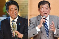 Shinzo Abe, left, and Shigeru Ishiba (Mainichi)