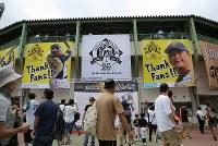 村田修一の引退試合を見ようと多くの人が集まった小山運動公園野球場=栃木県小山市で2018年9月9日、宮武祐希撮影