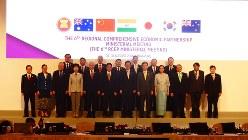 RCEP閣僚会合に参加した16カ国の交渉責任者=シンガポールで2018年8月30日午後、赤間清広撮影